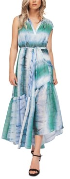 Black Tape Tie-Dyed Asymmetrical-Ruffle Maxi Dress