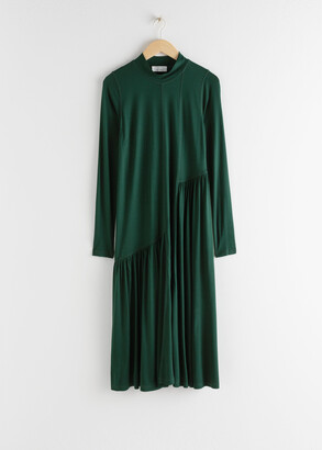And other stories Asymmetric Mock Neck Midi Dress