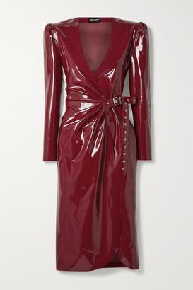Saint Laurent Latex Midi Wrap Dress + Latex Care Cleaning Kit 3 X 30ml Bottles (vividress, Vivishine, Viviclean) - Burgundy