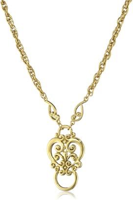 "1928 Jewelry Gold-Tone Heart Eyeglass Holder Pendant Necklace 28"""