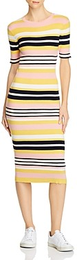 Frame Baja Striped Rib-Knit Midi Dress