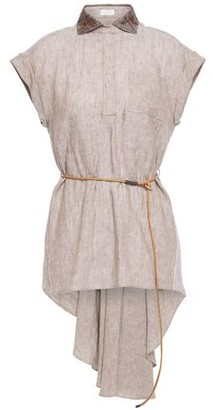 Brunello Cucinelli Asymmetric Belted Embellished Linen Top