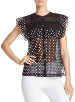 Rebecca Taylor Sleeveless Lace Embroidered Dot Silk Top