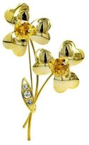 Brooched Simple Flower Brooch with Rhinestone