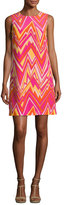 M Missoni Sleeveless Retro Zigzag Silk Shift Dress, Multi
