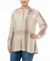 Melissa McCarthy Trendy Plus Size Plaid Tunic Blouse