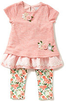 Rare Editions Little Girls 2T-6X Floral-Applique Lace Top and Floral Leggings Set