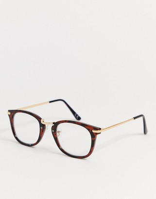 clear Asos Design ASOS DESIGN square glasses in tort with gold detail and lenses