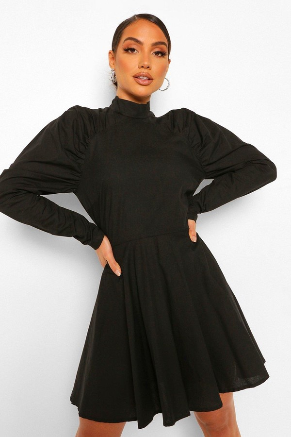 boohoo Cotton Ruched Puff Sleeve Skater Dress