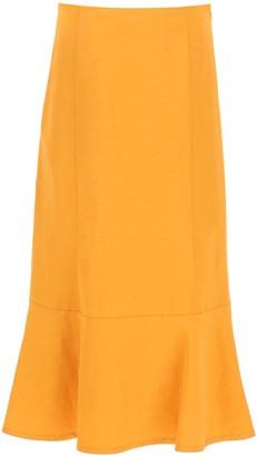 Jil Sander Flounce Detail Midi Skirt