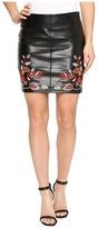 Romeo & Juliet Couture PU Embroidered Mini Skirt