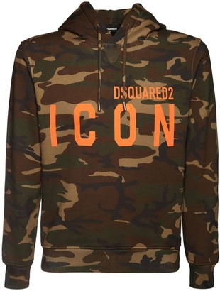 DSQUARED2 Printed Icon Logo Cotton Jersey Hoodie