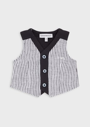 Emporio Armani Waistcoat With Striped Linen Front