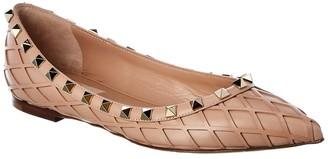 Valentino Rockstud Leather Ballet Flat