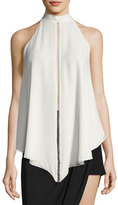 Haute Hippie Naomi Mock-Neck Asymmetric Silk Blouse w/ Ladder-Stitching