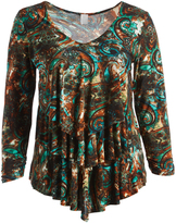 Glam Brown & Green Paisley Tiered V-Neck Top - Plus