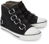 Ash Shoes Black Suede Buckle Hi Top Trainers