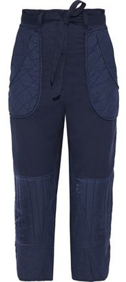 Sea O'keefe Cropped Quilted Cotton-twill Straight-leg Pants