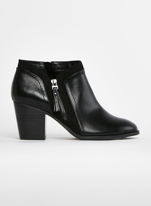 Evans EXTRA WIDE FIT Black Side Zip Ankle Boots