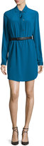 Halston Long-Sleeve Belted Shirtdress, Dark Teal
