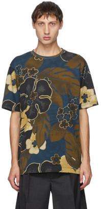 Dries Van Noten Khaki and Navy Flower Round Neck T-Shirt