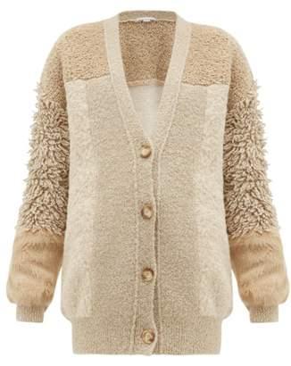 Stella McCartney Faux Fur-trimmed Knitted Cardigan - Womens - Beige Multi