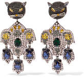 Gucci Gold-tone, Crystal And Silk Clip Earrings