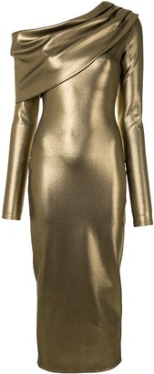 Sally LaPointe Metallic-Effect Cowl Neck Dress