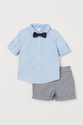 H&M Shirt with Bow Tie and Shorts - Blue