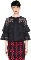 Temperley London Lace Top With Ruffle Sleeves
