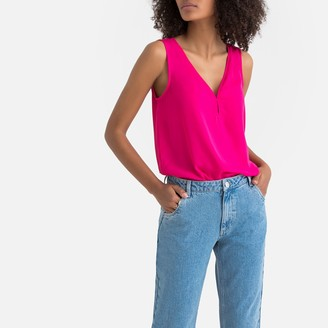 La Redoute Collections Draping V-Neck Sleeveless Blouse