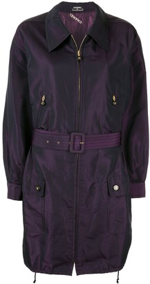 Chanel Pre-Owned silk iridescent belted lightweight coat