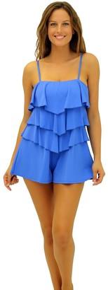 Fit 4 U Women's Fit 4U Color Blocks Romper one Piece Swimsuit
