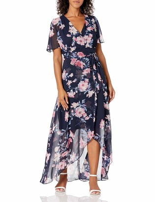 Jessica Howard JessicaHoward Women's Maxi Dress with High Low Wrap Skirt and Tie Sash
