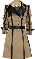 Burberry Leather-trimmed twill trench coat