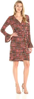 London Times Women's Bell Sleeve V Neck Jersey Wrap Dress