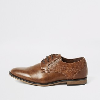 River Island Boys brown lace-up pointed shoes