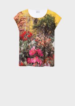 Paul Smith Women's Sleeveless Floral Garden Print T-Shirt - Large (L) | white | polyester - White/White
