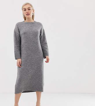 Asos DESIGN Petite knitted midi dress in fluffy yarn-Grey