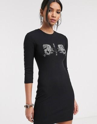 Bershka dragon motif mini dress in black
