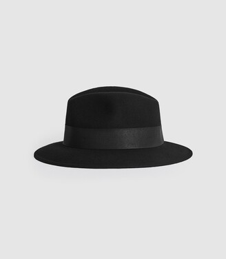 Reiss Edie - Felt Fedora in Black