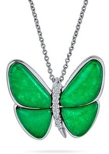 Bling Jewelry Butterfly Green Imitation Jade Pendant 925 Sterling Silver Garden Necklace