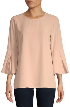 Calvin Klein Collection Pleated Bell-Sleeve Top