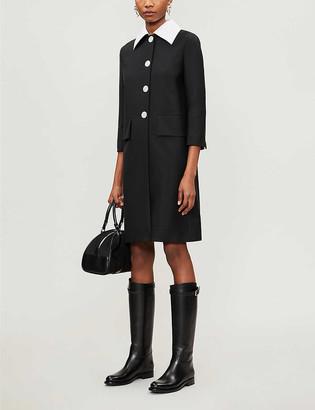 Prada Contrast collar mohair and wool-blend coat