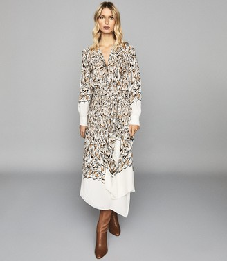 Reiss Mia - Feather Printed Midi Dress in White