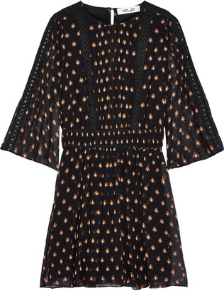 Diane von Furstenberg Flora Printed Cotton And Silk-blend Georgette Mini Dress