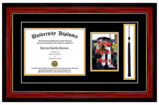 "Perfect Cases, Inc. Single Diploma Frame w/ Double Matting, Mahogany w/ Gold Lip, 12""x16"""