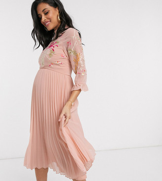 ASOS DESIGN Maternity embroidered pleated midi dress with fluted sleeve in dusky pink