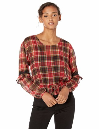 GUESS Women's Long Sleeve Madrid Lace Up Waist Top