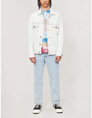 JUST DON Lion-print crystal-embellished denim jacket